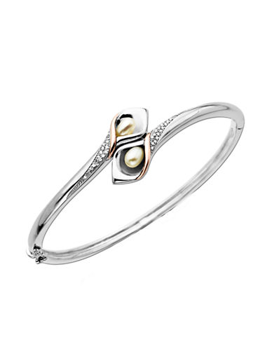 LORD & TAYLORSterling Silver Bangle Bracelet with 14Kt. Rose Gold Pearl and Diamond Accent
