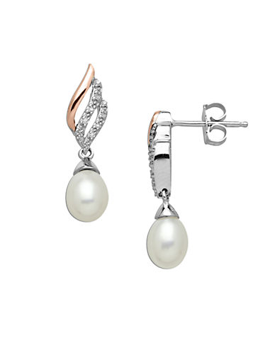 LORD & TAYLOR Sterling Silver with 14Kt. Rose Gold Pearl and Diamond Drop Earrings