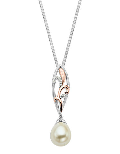 LORD & TAYLORSterling Silver Necklace with 14Kt. Rose Gold Pearl and Diamond Pendant