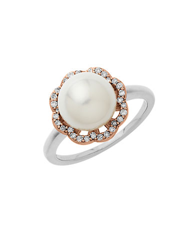 LORD & TAYLOR Sterling Silver 14Kt. Rose Gold Pearl and Diamond Ring