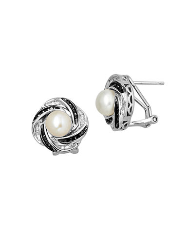 LORD & TAYLOR Sterling Silver Pearl & Black Diamond Earrings