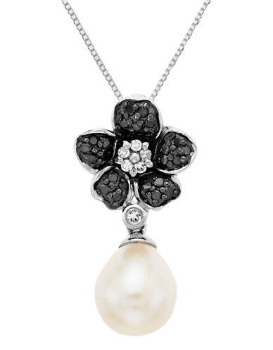 LORD & TAYLORSterling Silver Necklace with Pearl & Black Diamond Flower Pendant