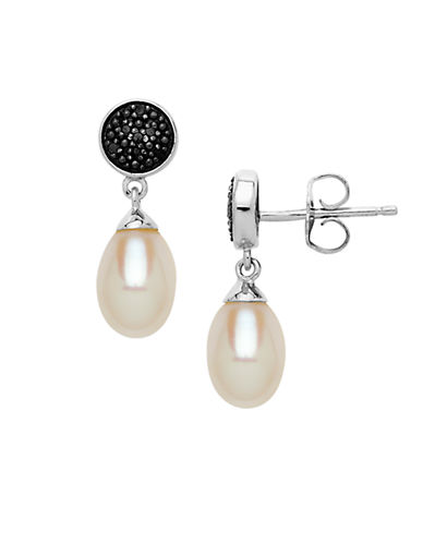 LORD & TAYLOR Sterling Sliver Pearl & Black Diamond Drop Earrings