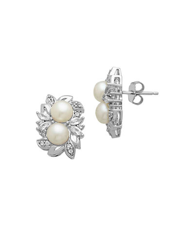 LORD & TAYLOR Sterling Silver Pearl and White Topaz Earrings