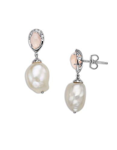LORD & TAYLOR Sterling Silver Pearl and Rose Quartz Diamond Drop Earrings