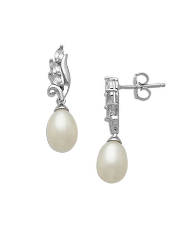 LORD & TAYLOR Sterling Silver and Pearl Drop Earrings with Topaz Stones