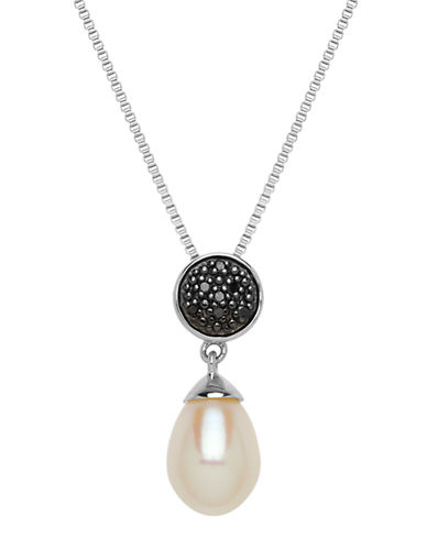 LORD & TAYLORSterling Silver Necklace with Pearl and Black Diamond Pendant
