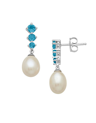 LORD & TAYLOR Sterling Silver Pearl and Blue Topaz Drop Earrings