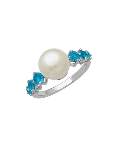 LORD & TAYLOR Sterling Silver Pearl and Blue Topaz Ring