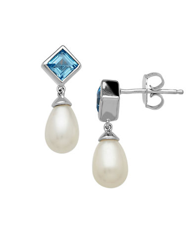 LORD & TAYLOR Sterling Silver Pearl and Swiss Blue Topaz Drop Earrings