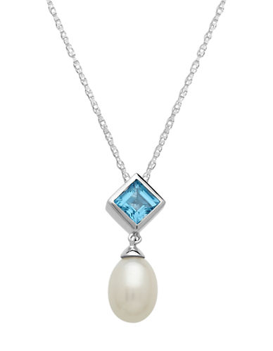 LORD & TAYLOR Sterling Silver Pearl and Swiss Blue Topaz Pendant Necklace