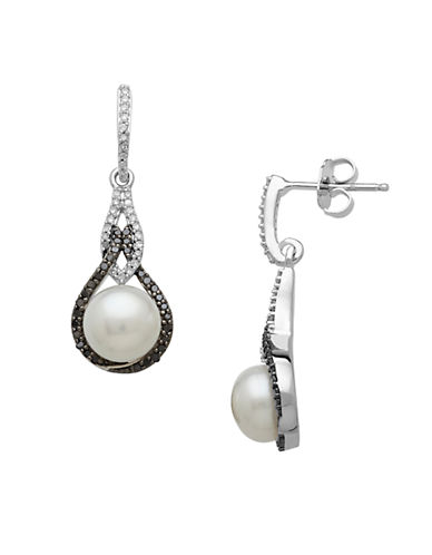 LORD & TAYLOR Sterling Silver Pearl & Black Diamond Drop Earrings