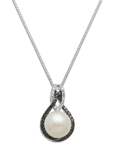 LORD & TAYLORSterling Silver Pearl and Black Diamond Pendant Necklace