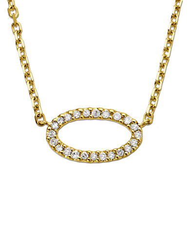 LORD & TAYLOR 14Kt. Yellow Gold & Diamond Oval Pendant Necklace