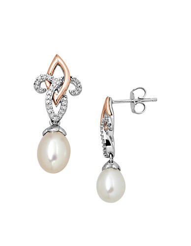 LORD & TAYLORSterling Silver with 14Kt. Rose Gold Pearl and Diamond Drop Earrings