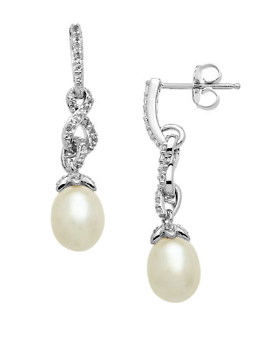 LORD & TAYLOR Sterling Silver Pearl and White Topaz Drop Earrings