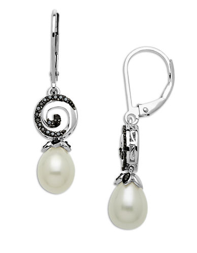 LORD & TAYLOR Sterling Silver and Freshwater Pearl Drop Earrings with Diamonds