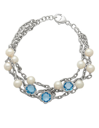 LORD & TAYLOR Sterling Silver Pearl and Blue Topaz Bracelet