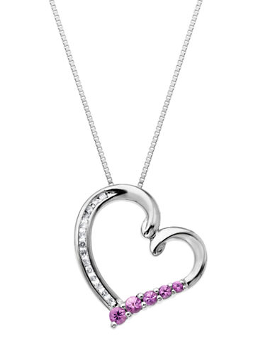 LORD & TAYLORSterling Silver Pink Sapphire and Diamond Heart Pendant Necklace