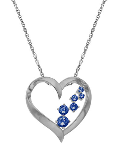 LORD & TAYLOR 14Kt. White Gold and Sapphire Heart Pendant Necklace