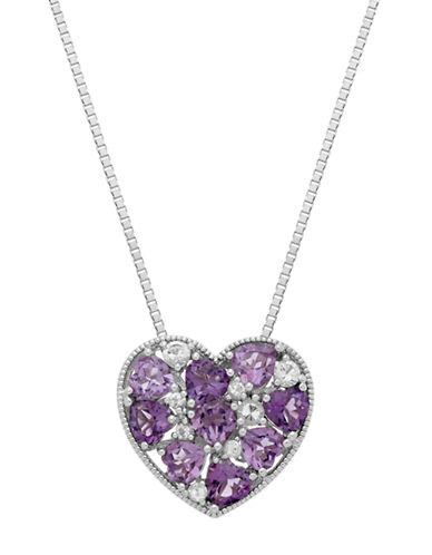 LORD & TAYLOR Sterling Silver Multi Amethyst and White Topaz Heart Pendant Necklace