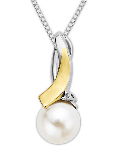 LORD & TAYLORSterling Silver and 14 Kt. Yellow Gold Fresh Water Pearl Pendant with Diamonds