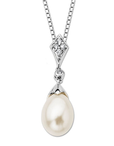 LORD & TAYLORSterling Silver Fresh Water Pearl and Diamond Pendant