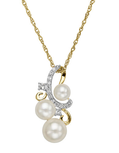 LORD & TAYLOR 14 Kt. Yellow Gold Fresh Water Pearl Trio and White Topaz Pendant
