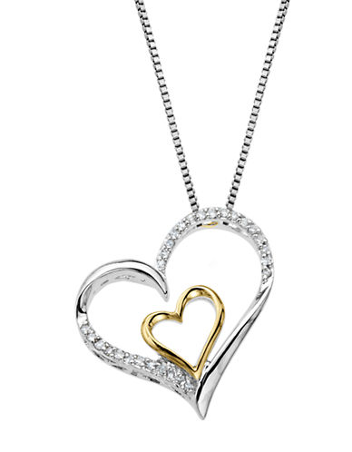 LORD & TAYLORSterling Silver & 14 Kt. Yellow Gold Heart Pendant with Diamonds