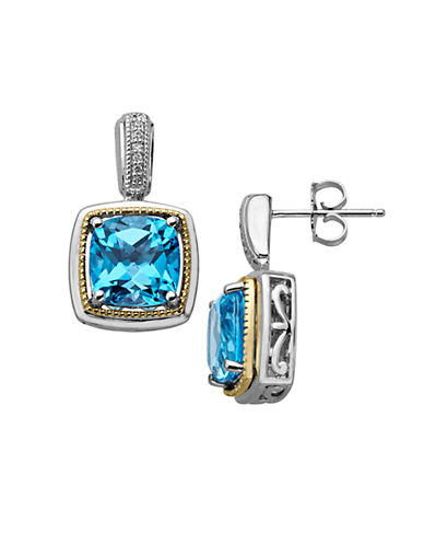 LORD & TAYLOR Sterling Silver and 14 Kt. Yellow Gold Blue Topaz Earrings with Diamonds