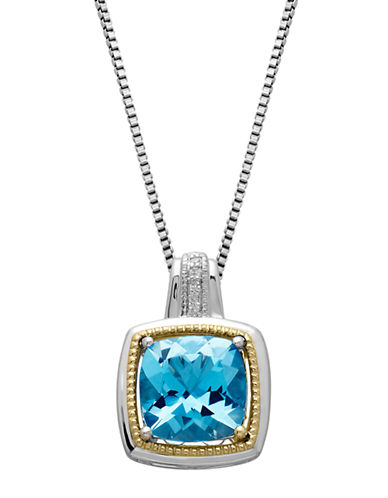 LORD & TAYLOR Sterling Silver & 14 Kt. Yellow Gold Blue Topaz Pendant with Diamonds