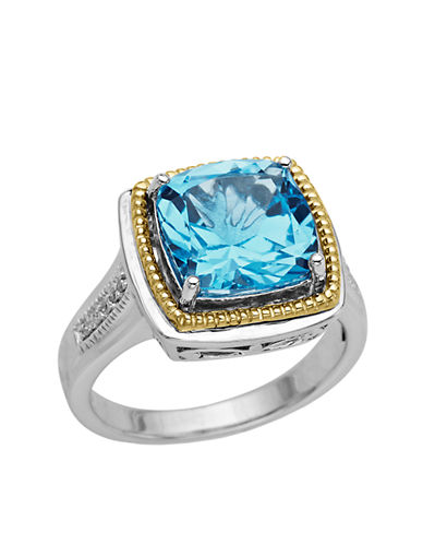 LORD & TAYLORSterling Silver and 14 Kt. Yellow Gold Blue Topaz Ring with Diamonds