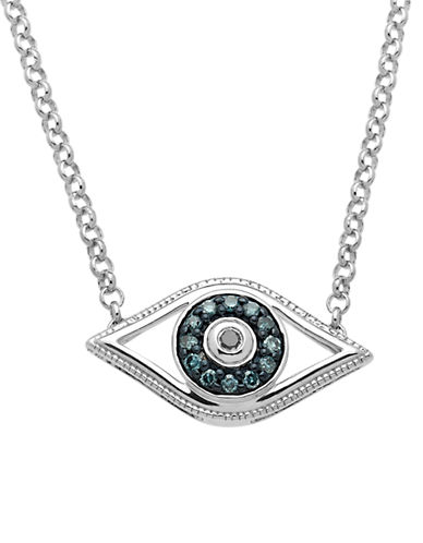 LORD & TAYLORSterling Silver Evil Eye Pendant Necklace with Green and Black Diamonds
