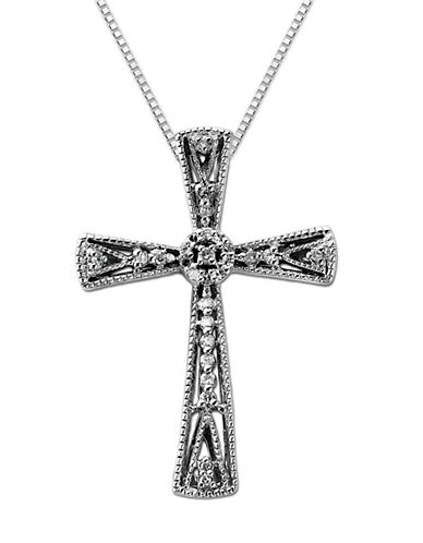 LORD & TAYLOR Sterling Silver & Diamond Cross Pendant Necklace