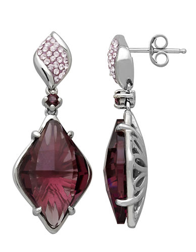 LORD & TAYLOR Sterling Silver Purple Crystal Drop Earrings