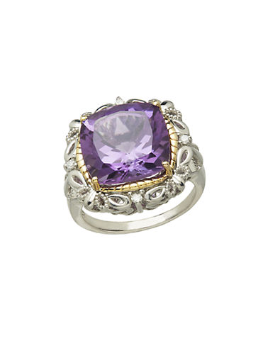 LORD & TAYLORSterling Silver 14Kt. Yellow Gold Amethyst and Diamond Ring
