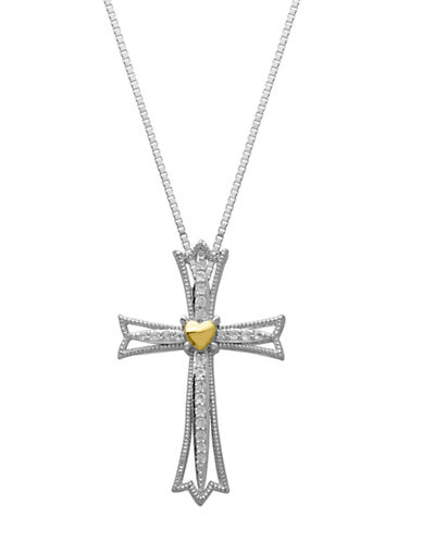 LORD & TAYLOR Sterling Silver & 14Kt. Yellow Gold White Topaz Cross Pendant Necklace