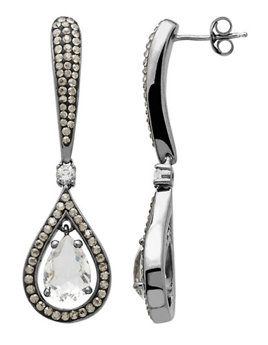 LORD & TAYLOR Sterling Silver Black and White Crystal Drop Earrings