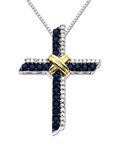 LORD & TAYLOR Sterling Silver & 14Kt. Yellow Gold Sapphire Cross Pendant with Diamonds