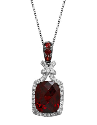 LORD & TAYLORSterling Silver Necklace with Garnet and White Topaz Pendant