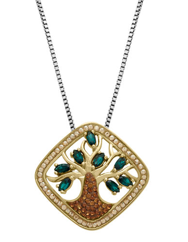 LORD & TAYLORSterling Silver and Green Crystal Pendant Necklace