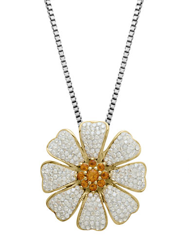 LORD & TAYLORSterling Silver Flower Crystal Pendant Necklace