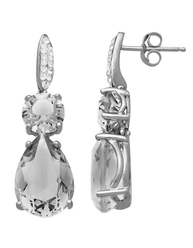 LORD & TAYLOR Sterling Silver Clear Crystal Drop Earrings