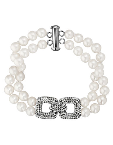 LORD & TAYLOR Sterling Silver Fresh Water Pearl and Crystal Bracelet