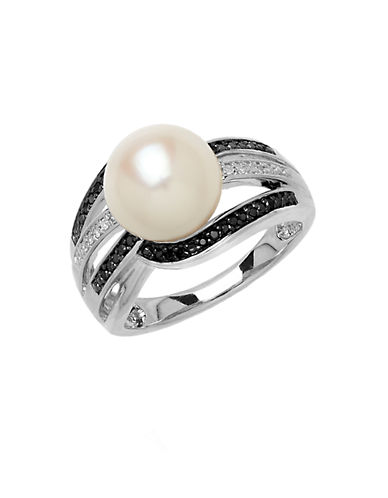 LORD & TAYLOR Sterling Silver Pearl and Diamond Ring