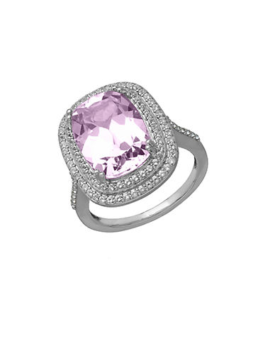LORD & TAYLOR Sterling Silver Pink Amethyst and White Topaz Ring