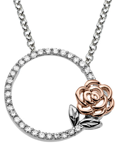 LORD & TAYLOR Sterling Silver and 14Kt Rose Gold Diamond Necklace