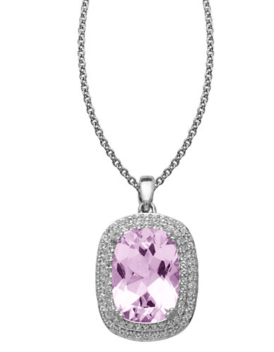 LORD & TAYLOR Sterling Silver Pink Amethyst & White Topaz Pendant Necklace