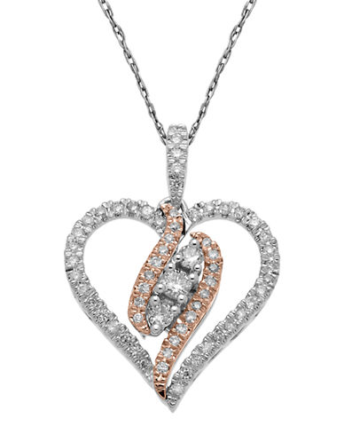 LORD & TAYLOR14Kt. White and Rose Gold Diamond Heart Pendant Necklace