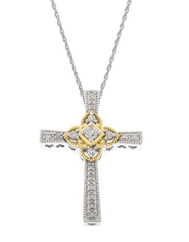 LORD & TAYLOR 14Kt White and Yellow Gold Diamond Cross Pendant Necklace